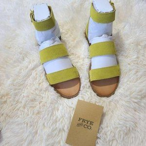 Frye Evie Two Band Suede Leather Sandal Lime 7